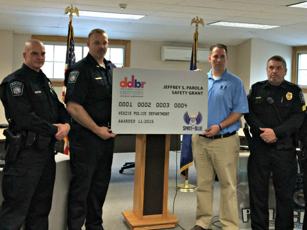 Image Caption – Receiving the Spirit of Blue Safety Equipment Grant for the Veazie Police Department were (left to right) Officer Brian Nichols, Chief Mark Leonard and Sergeant Dain Bryant. The award was presented by Ryan T. Smith, Executive Director of Spirit of Blue.